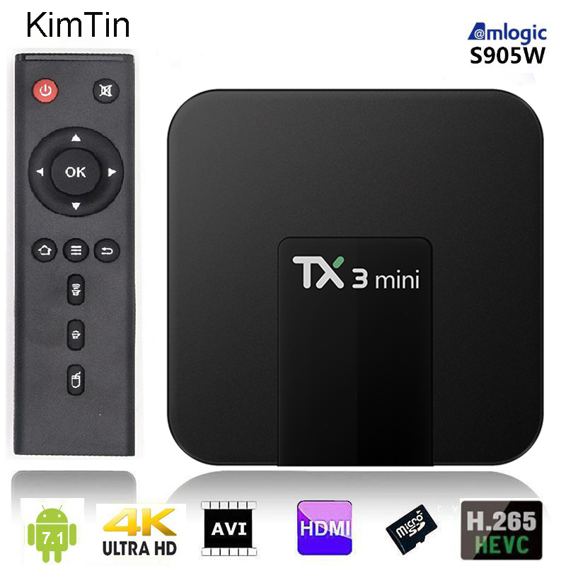 TX3 Mini Android 7.1 TV kutusu Amlogic dört çekirdekli tvbox 2 GB 16 GB 1080 P Media Player Netflix Google wifi Set Top Box + uzaktan kumanda