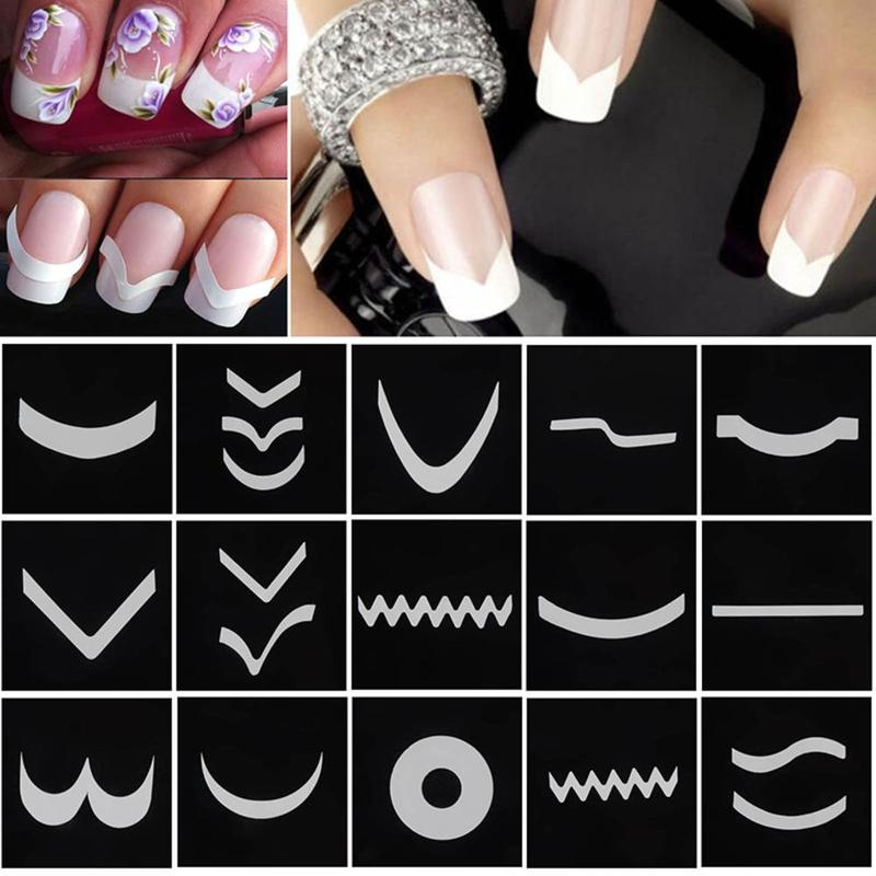 18 Sheets/Set Fransız Tarzı Tırnak Manikür Hollow Şablonlar Sticker DIY Nail Art İpuçları Rehberleri Stencil Şerit 3D Vinyls çıkartmaları Araçları