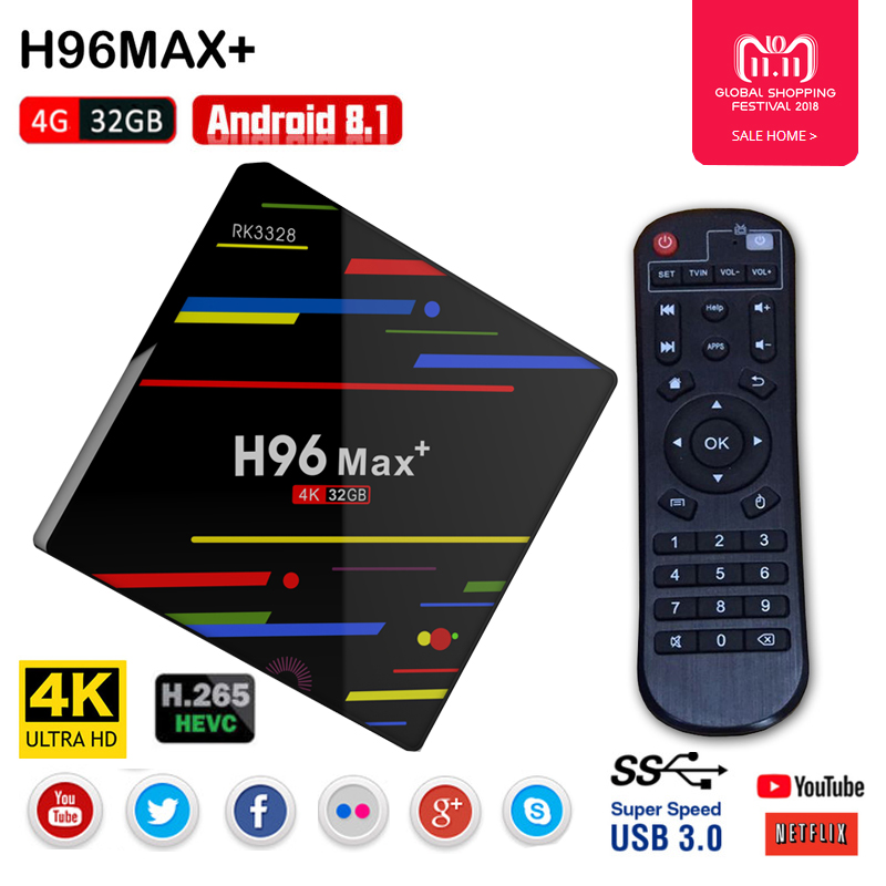 H96 MAX Artı Android 8.1 TV Kutusu RK3328 Quad Core 4 GB + 32 GB USB 3.0 akıllı TV kutusu 2.4 GHz wiFi 3D 4 K H.265 Set Top Box Media Player