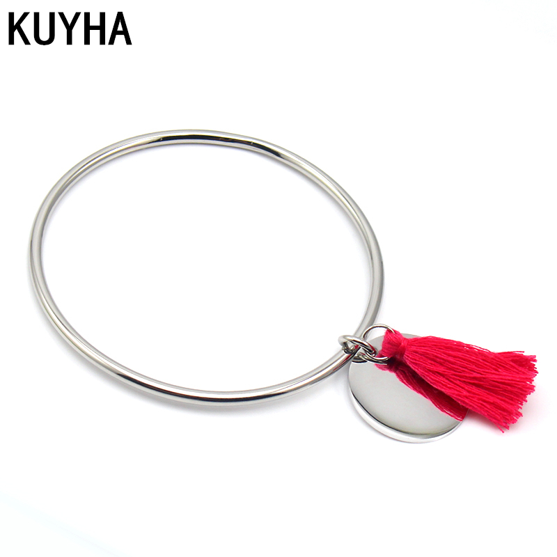 Multicolor Tassel Bangle With Round Blank Engravable Charm Custom Name Logo Personalized Accessories Gift for Anniversary