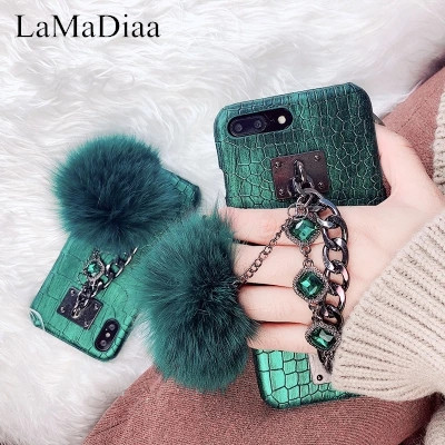 LaMaDia Luxury Laser Crocodile Pattern PU Leather Fur Ball Phone Cases For iPhone X 6 6s 6plus Fashion Case For iPhone 7 8 Plus