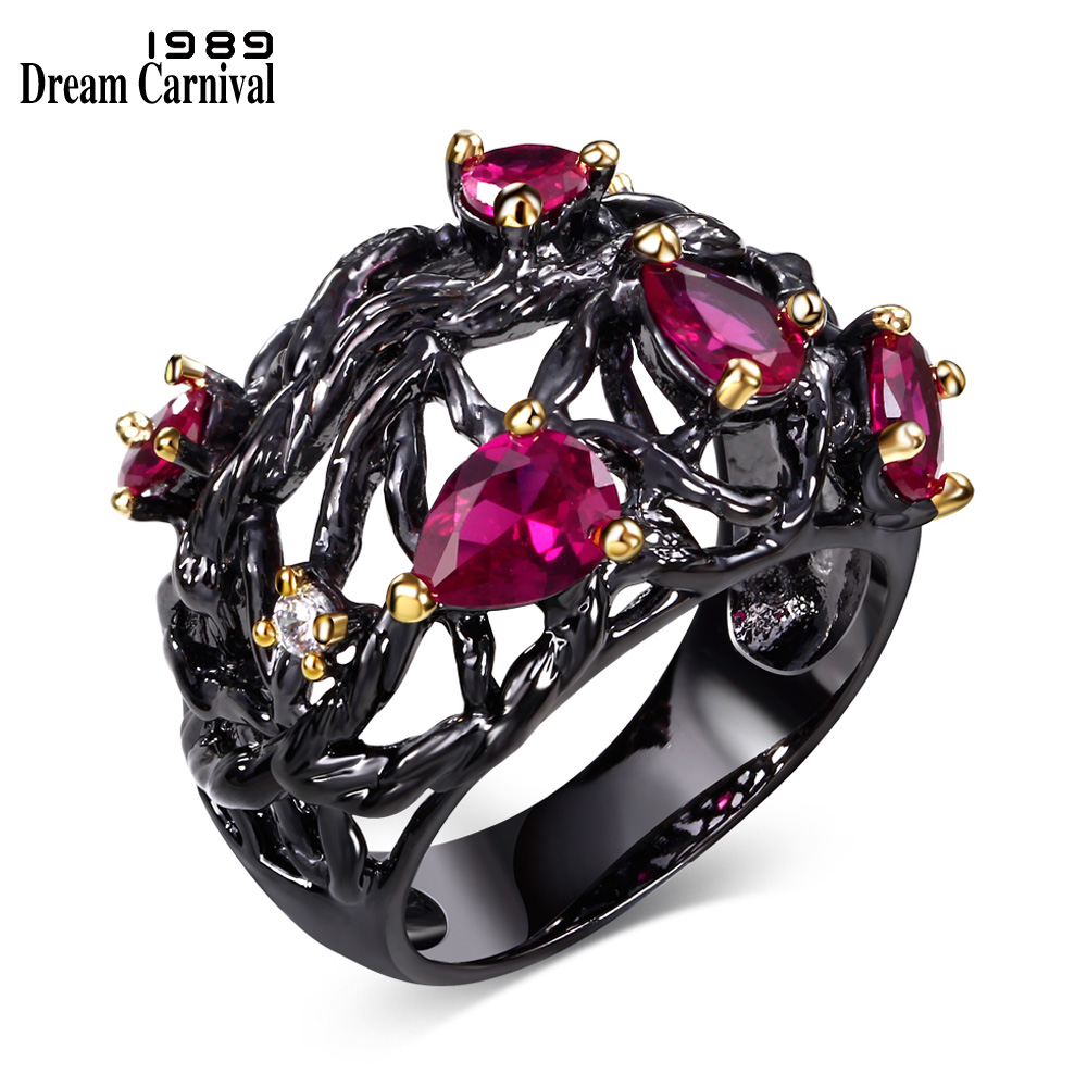 DC1989 European Design Women&39;s Vintage Rings Punk Black Plated with Golden Prongs Fuchsia Synthetic Cubic Zirconia Lead Free