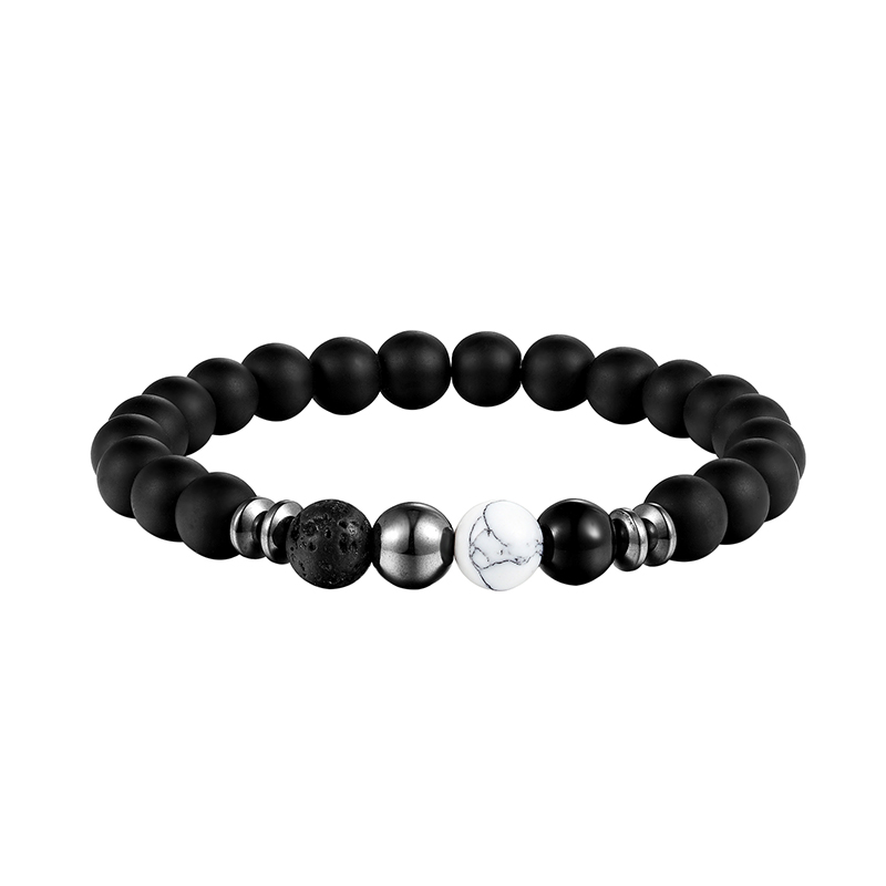 LIVVY 2018 New design of high quality volcano black pearl jewelry elastic energy natural stone man bracelet bracelets AS303