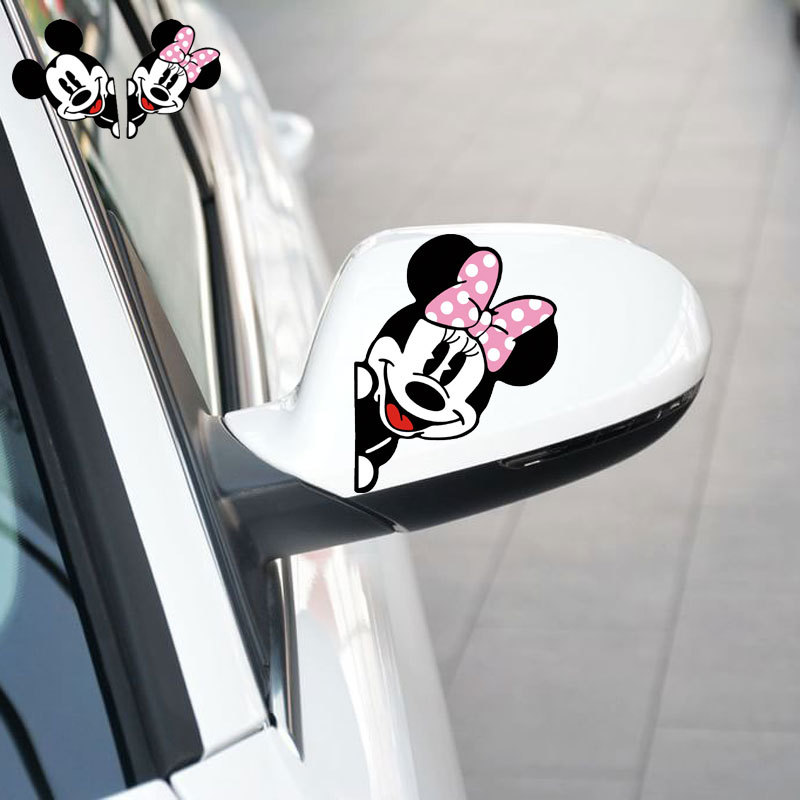 Aliauto Mickey Mouse Mickey ve Minnie Araba Raerview Ayna Sticker ve Volkswagen Polo Golf Skoda için çıkartma Opel Ford Odak 2 3